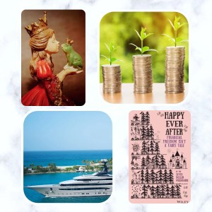 a collage of 4 images top left is a wooden carving of a princess kissing a frog, top right are three piles of coins each bigger than the next and each with a plant shoot growing out of it, bottom left is a picture of a yacht in a tropical sea, bottom right is the cover of happy ever after