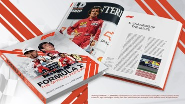an official promo shot from publisher Welbeck. It shows two copies, one closed with the front cover showing and one open showing a photo of racing driver on one page and text and more photograph on the other.