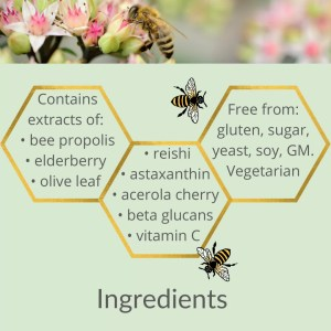 a sage green background with gold hexagons arranged in a lattice style like honeycomb with active ingredients listed in side. Across the top there is a photo of a bee on a pink and white flower.