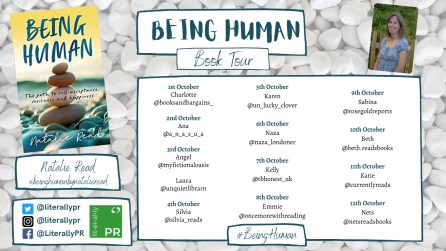 blog tour poster for being human by natalie read