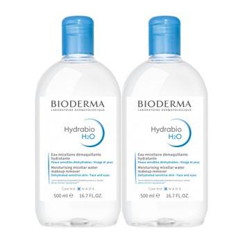 Bioderma Hydrabio H2O, feuchtigkeitsspendendes Mizellenwasser zur Gesichtsreinigung und Abschminkung, 500 ml x 2