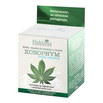 Efektima, Gesichtscreme mit Hanföl, Nachtreparatur, 50 ml