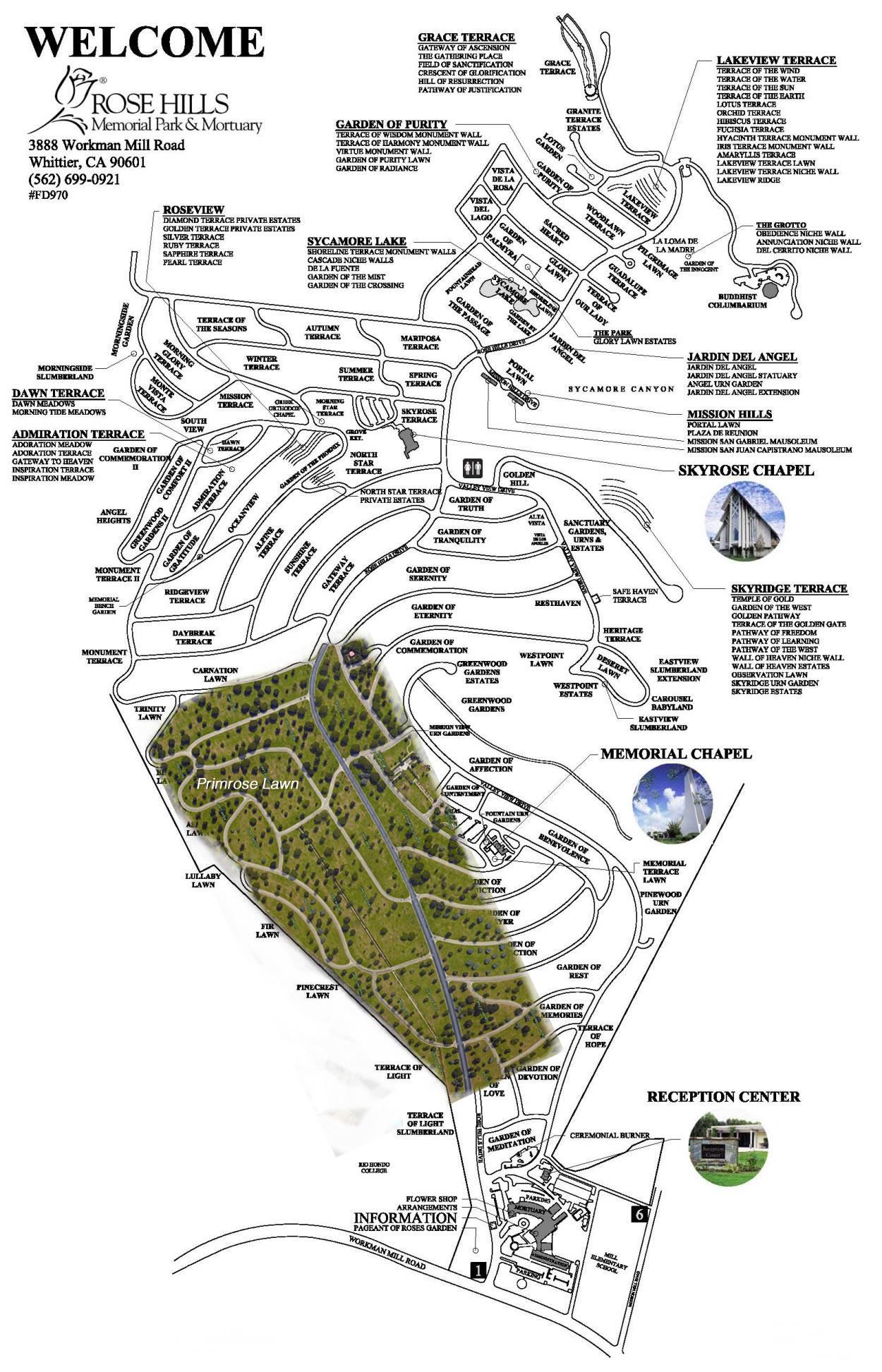 Map Rose Hills Cemetery Whittier Ca
