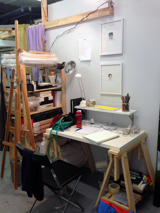 Working on smaller pieces at my studio desk.