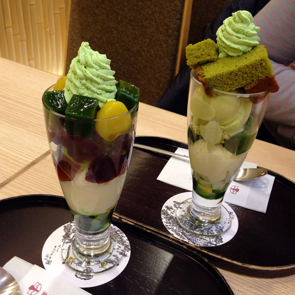 The most delicious matcha and genmaicha ice cream parfaits to celebrate the end of our  world trip!