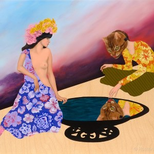 Bizarre Love Triangle (Echo & Narcissus), Oil on wood panel, 20 x 16 in, 2011