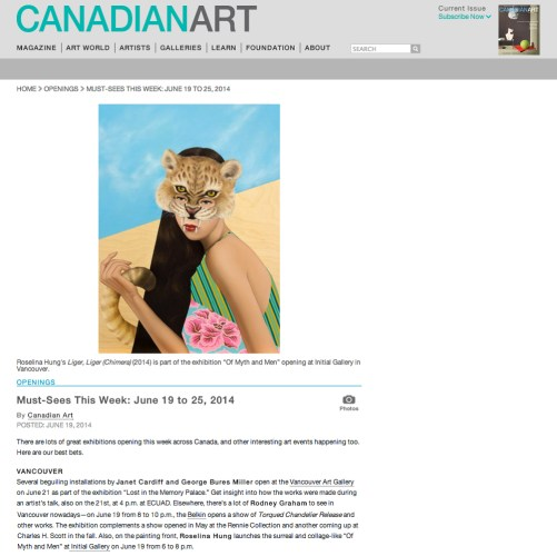 Must-Sees This Week: June 19 to 25, 2014 by Canadian Art