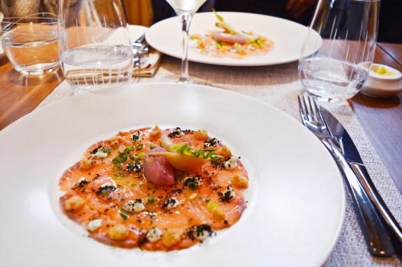 Salmon dish at restaurant in Paris (Les Fables de la Fontaine).