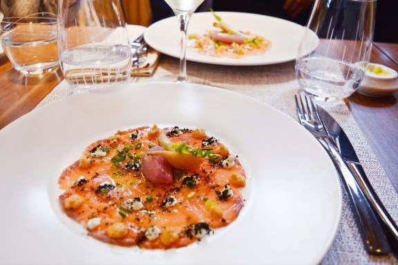 Salmon dish at restaurant in Paris (Les Fables de la Fontaine).