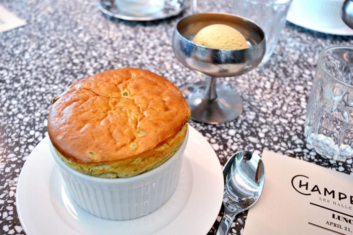 Soufflé at Champeaux restaurant in Paris.