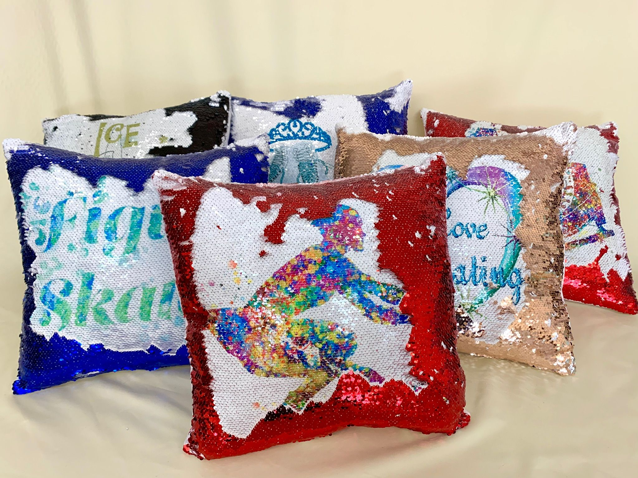 reversible sequin cushion roller