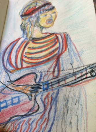 The musician on guitar