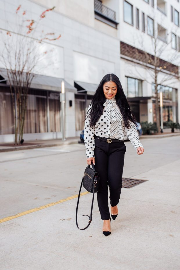 black and white work wear outfit