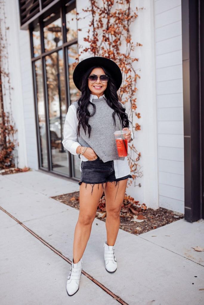 black denim shorts outfit