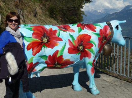 A painted cow at Harder Kulm restaurant
