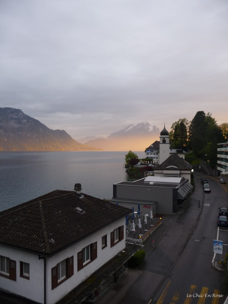 Sun setting over the lake Weggis
