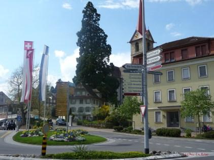 Signposts in the centre of Weggis Switzerland