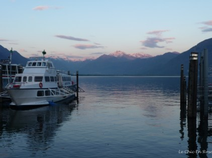 Boat on Lake Maggiore at dusk