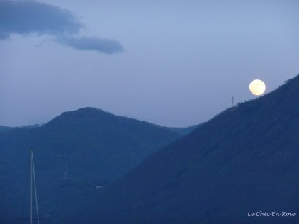 Moon rising over mountains above Lake Maggiore