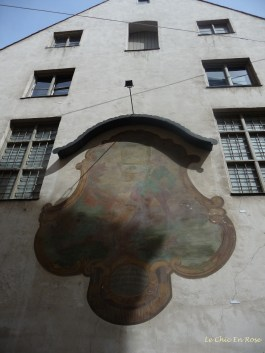 Painting on the side of one of the oldest buildings dating from the late 1300s