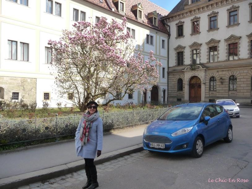 Walking round the outside of the Schloss Emmeram