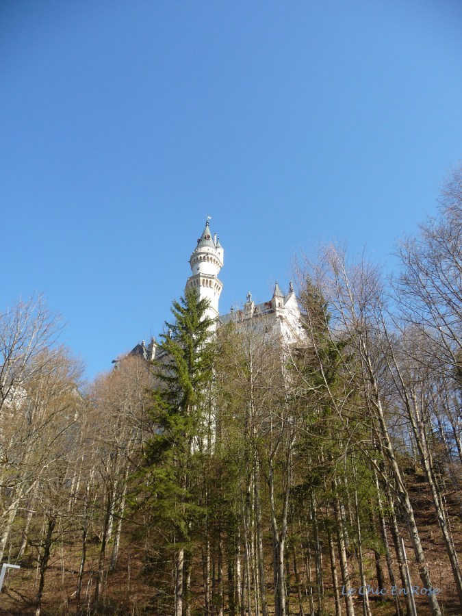 Neuschwanstein appearing from amongst the trees on the return journey