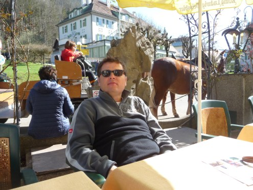 Monsieur Le Chic in the beer garden at Hotel Mueller Hohenschwangau