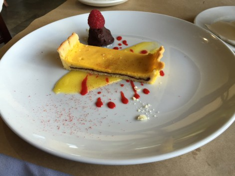 Dessert number 1, a trio of flavours - citrus, chocolate and raspberry