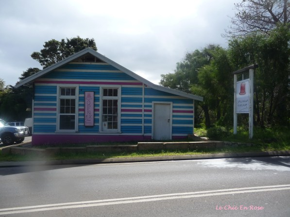 The pretty blue and pink weatherboard bakery
