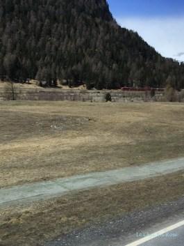 Bernina Train On Opposite Side Of The Valley Near St Moritz