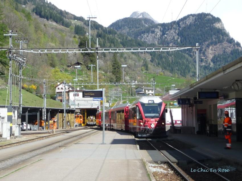The Bernina Express Train Approaching Poschiavo