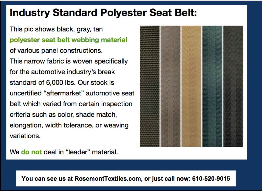 Rosemont Textiles is your Seatbelt Webbing Supplier -- Portfolio Image
