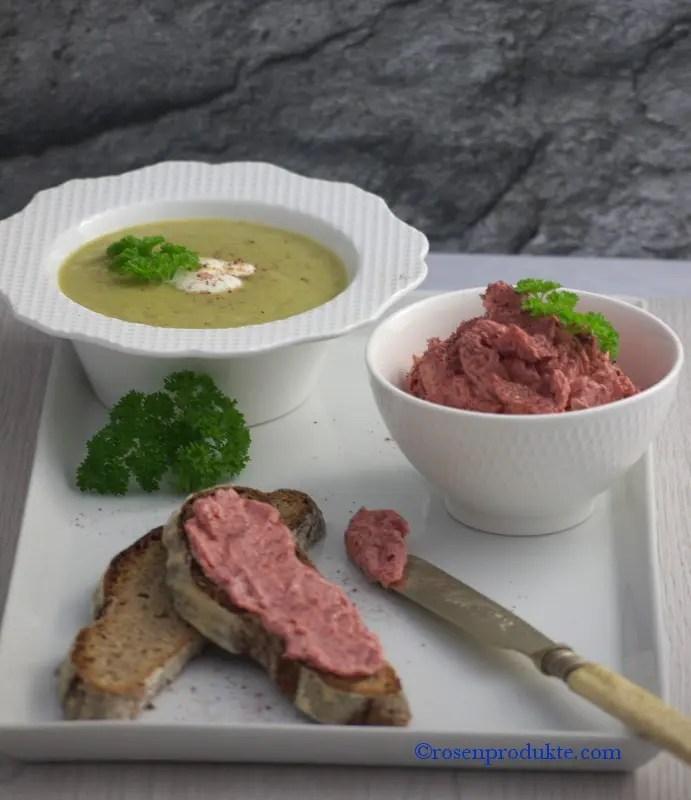 Rosen-Senf-Butter auf Brot mit Lauchcreme Suppe