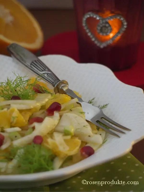Orange Fenchel Salat mit Granatapfelkerne