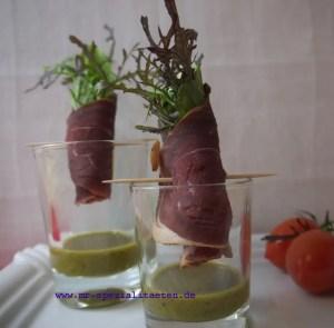 kreative Salatidee Salatröllchen mit Schinken