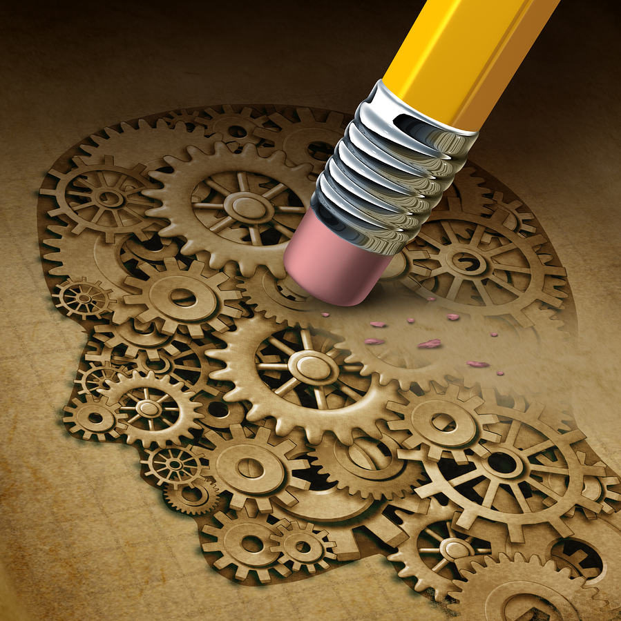 Graphic of erasing gears on a human Head