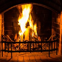 Home Fire Burning In The Fireplace. Seasonal And Holiday Fire