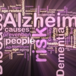Word cloud concept illustration of Alzheimer's disease glowing n