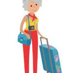 senior travel. cartoon