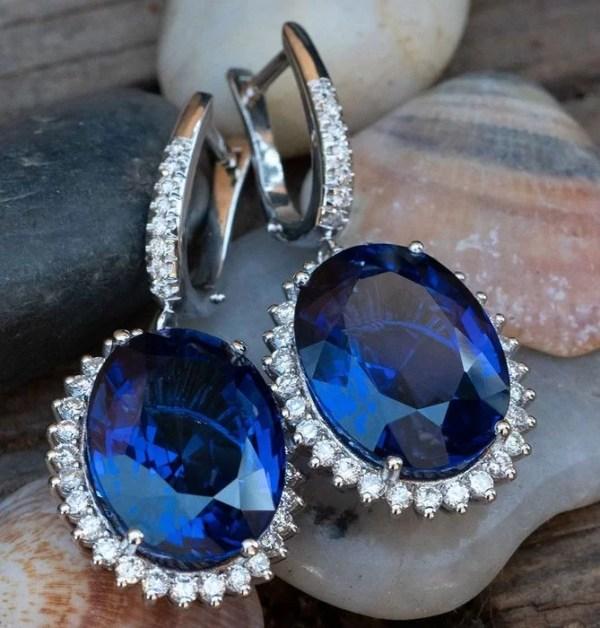 cercei safir diamante