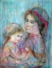 Edna_Hibel_Mother_Holding_Child_18x15