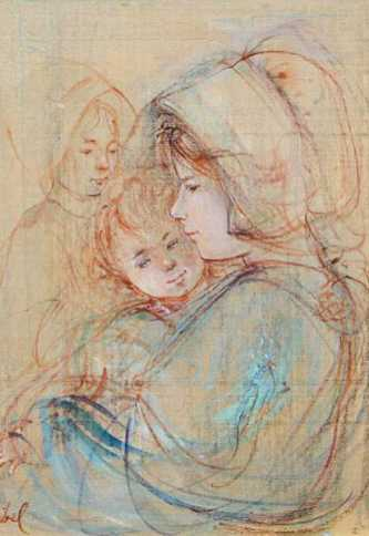 Edna_Hibel_Study_For_Mother_And_Children_14x11