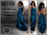 [RPC] Mesh ~ Flower Print Dress ~ Cyan