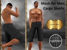 [RPC] Mesh for Men ~ Cargo Shorts ~ Black