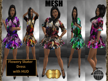 [RPC] MESH ~ Flowery Skater Dress with HUD