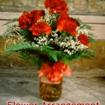 Red Carnations in Colored Mason Jar - $54.95
