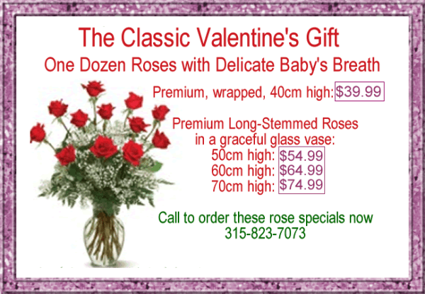 Valentine Roses at Rose Petals Florist Little Falls NY