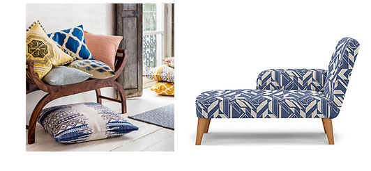 John Lewis cushions and Marks and Spencers chaise showing the blue of rose quartz designs and forthefloorandmore.com