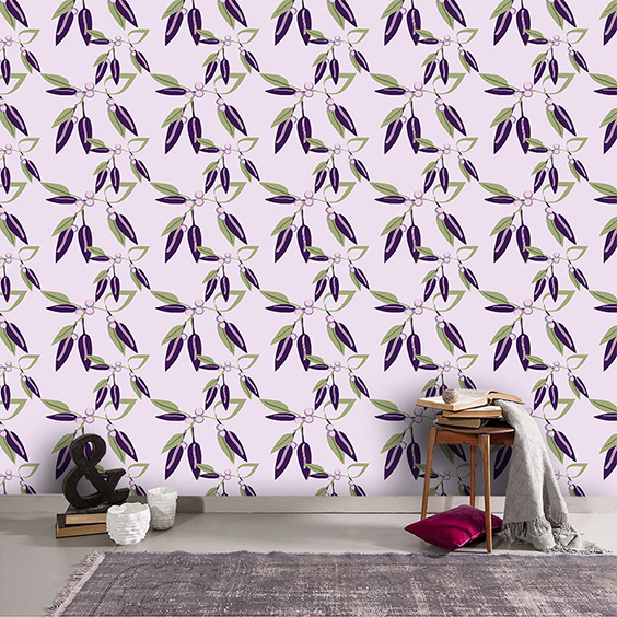 Viola Vine bespoke made to measure wallpaper designed by Rose Quartz and available from forthefloorandmore.com