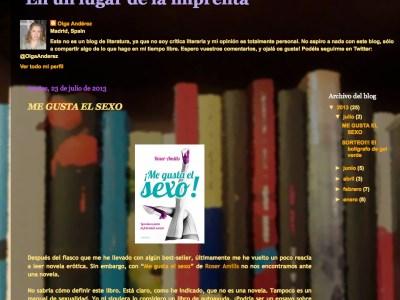 """Por Olga Andérez, en su blog: """"sumérgete en las páginas de """"Me gusta el sexo"""" y déjate llevar"""""""